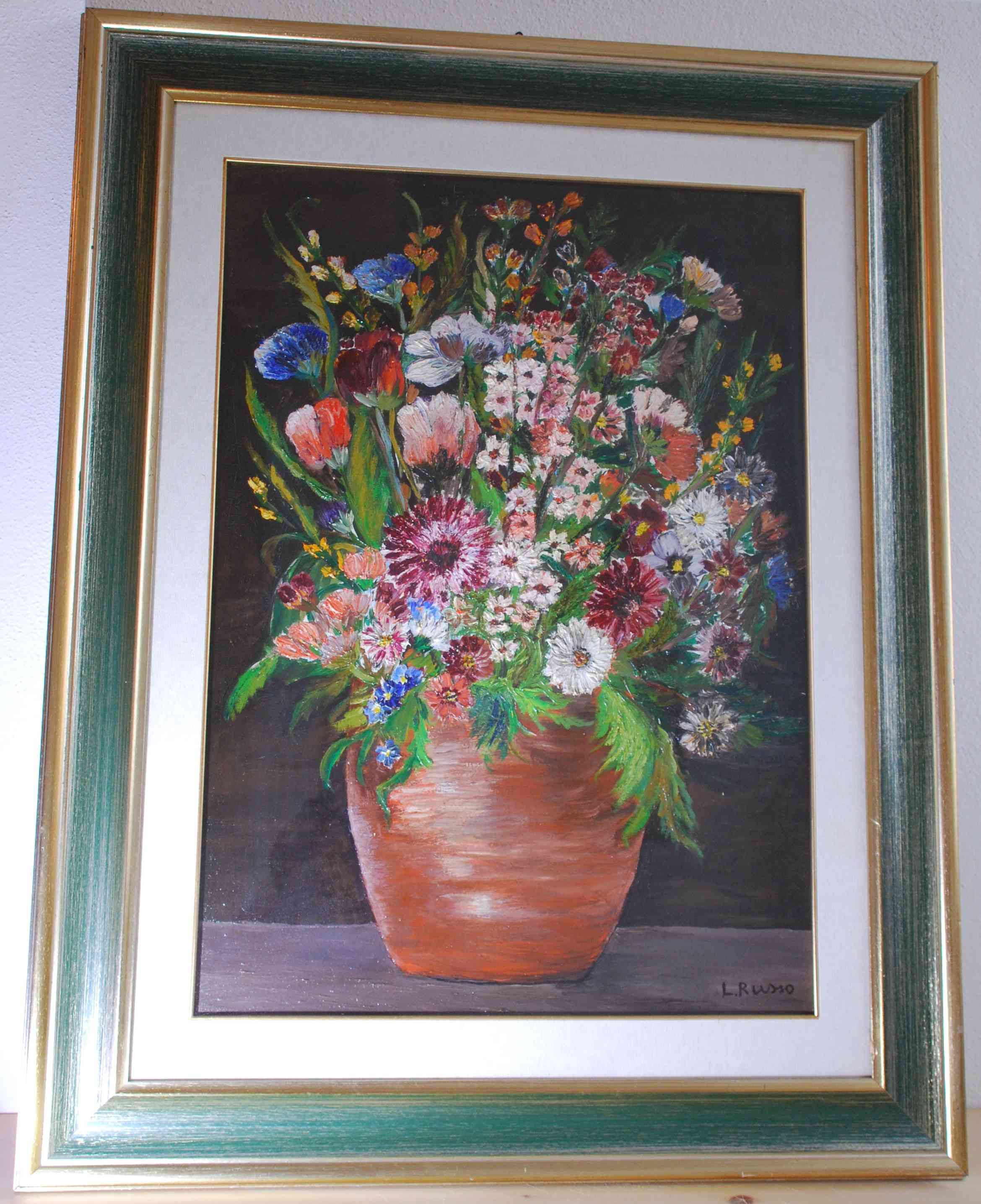 Pot of flowers (oil paint on canvas)